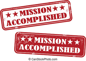 Mission Accomplished Rubber Stamp - Distressed style Mission...