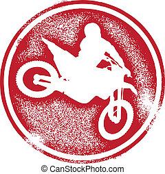 Motocross, jeździec, tłoczyć
