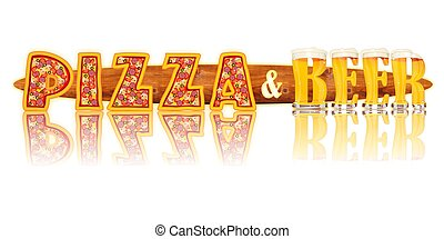 BEER ALPHABET PIZZA and BEER - Very detailed illustration of...