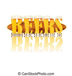 BEER ALPHABET letters BEERS - Very detailed illustration of...