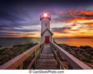 Sunset lighthouse - Annisquam lighthouse at sunset off the...