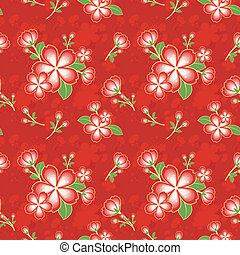 Oriental Flower Chinese Seamless Pattern