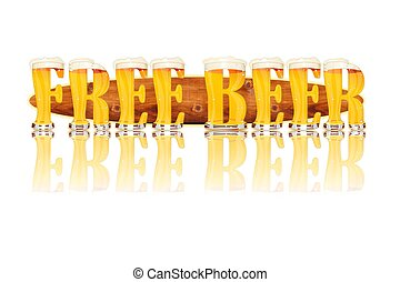 BEER ALPHABET letters FREE BEER - Very detailed illustration...