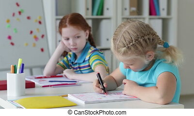 Busy drawing - Lovely pupils being busy drawing in the...