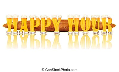 BEER ALPHABET letters HAPPY HOUR - Very detailed...