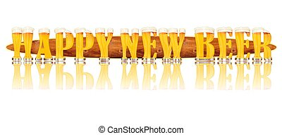 BEER ALPHABET HAPPY NEW BEER - Very detailed illustration of...