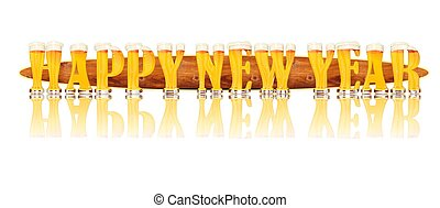 BEER ALPHABET HAPPY NEW YEAR - Very detailed illustration of...