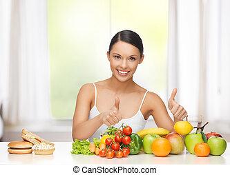 mujer, frutas, Rechazar, chatarra, alimento