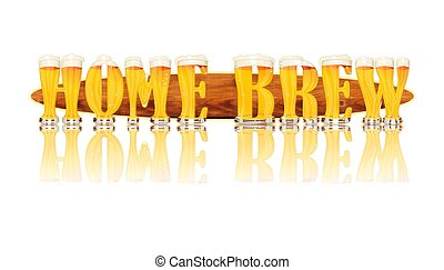 BEER ALPHABET letters HOME BREW - Very detailed illustration...