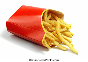 french fries in a red paper wrapper on white