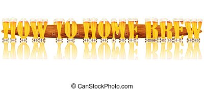 BEER ALPHABET HOW TO HOME BEER - Very detailed illustration...
