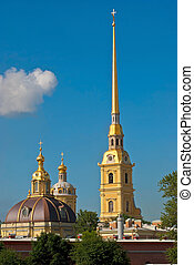 Cathedral bell tower and the dome - The spire of the main...