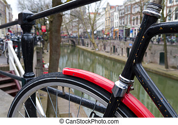 red mudguard - bicycle in Utrecht, Netherlands with red...