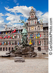 Central square and Brabo statue in Antwerpen, Belgium