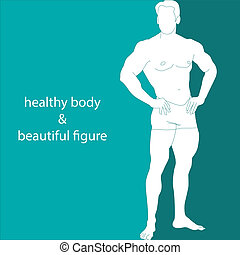 healthy body & beautiful figure - silhouette of a muscular...