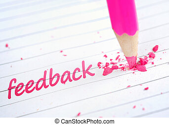 Feedback word and pink pencil