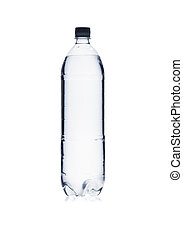 Silhouette of plastic water bottle isolated on white background
