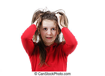 Disheveled frightened girl child on a white background
