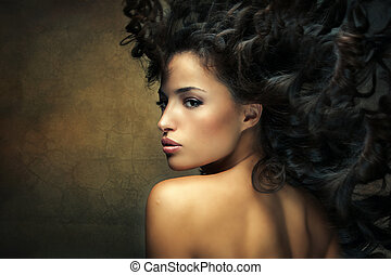 wild beauty - wild beautiful black hair woman shot with hair...