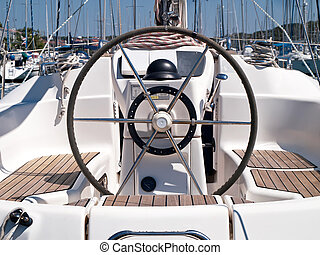 Helm station on sailing boat
