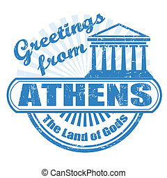 Greetings from Athens stamp - Grunge rubber stamp with text...