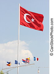 Turkish flag - The Turkish flag flying