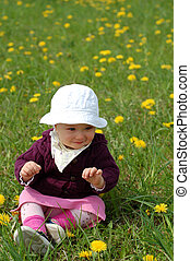 baby girl - happy baby girl on green meadow