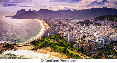 Ipanema Beach - Aerial view of buildings on the beach front,...