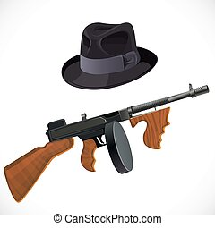 Fedora hat and a Thompson gun for a retro party isolated on...