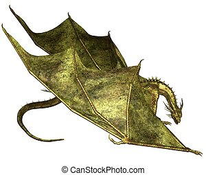 Green Scaled Dragon Crawling - Crawling dragon with green...