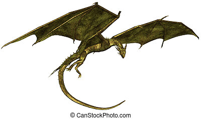 Green Scaled Dragon in Flight - Flying dragon with green...