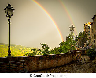 Double Rainbow over Lampost in Umbria, Italy
