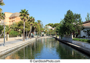 Alcudia canal - Scenic view of canal in Alcudia old town,...