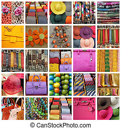 collection of images with women and men accessories