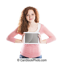 Woman with pc tablet