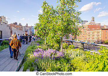 High Line Park, New York - NEW YORK - CIRCA MAY 2013: The...