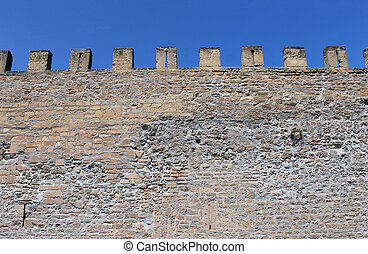 Castle battlements - Exterior of medieval castle showing...