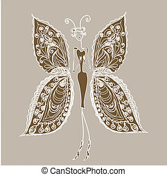 Butterfly - the woman of fashion. - Abstract vector image of...