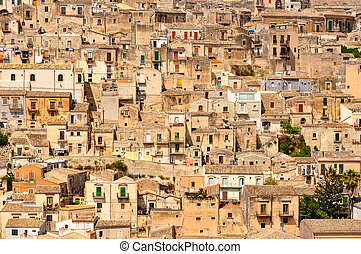 Detail of beautiful houses in town Modica, Sicily, Italy