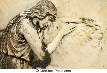 relief with sleeping angel - beautiful antique cemetery...