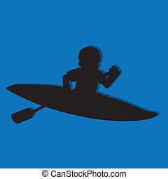 kayak silhouette on blue background