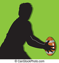 rugby silhouette and ball on green background