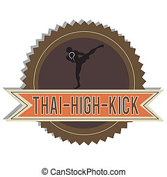High Kick - Muay Thai High kick label on white background