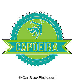 Capoeira - blue and green capoeira label on white background