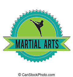 martial arts - green and blue martial arts label on white...
