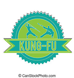 kung-fu - blue and green kung-fu label on white background