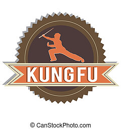 Kung fu - brown Kung fu label on white background