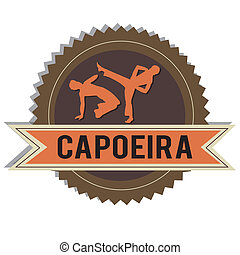 Capoeira - brown capoeira silhouette on white background