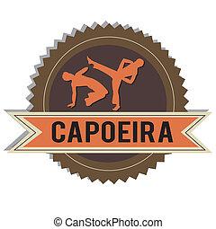 Capoeira - brown capoeira silhouette on white background