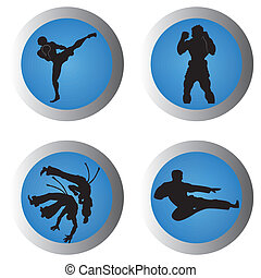 martial arts - different martial arts icons on blue gradient...